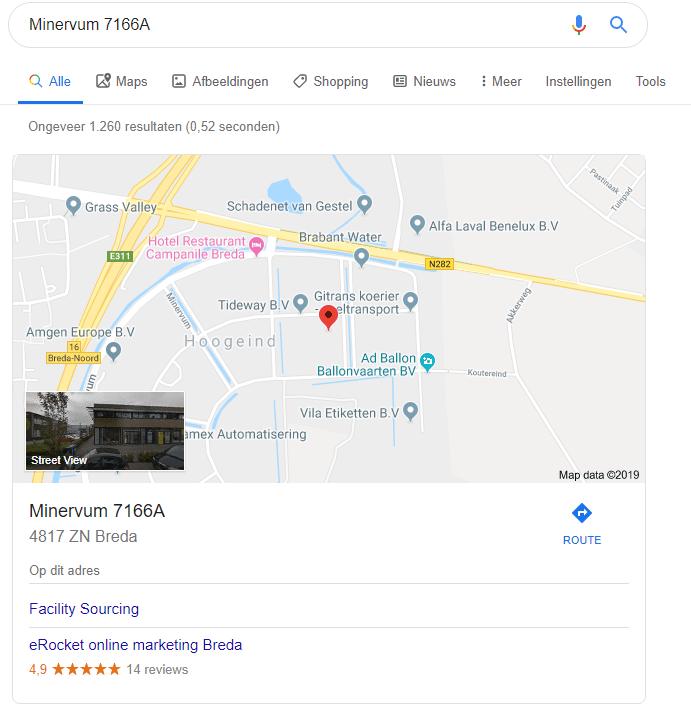 Het adres van Google Mijn Bedrijf eRocket