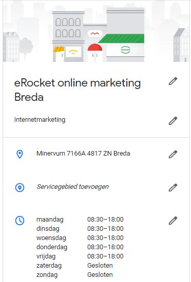 De openingstijden op Google Mijn Bedrijf