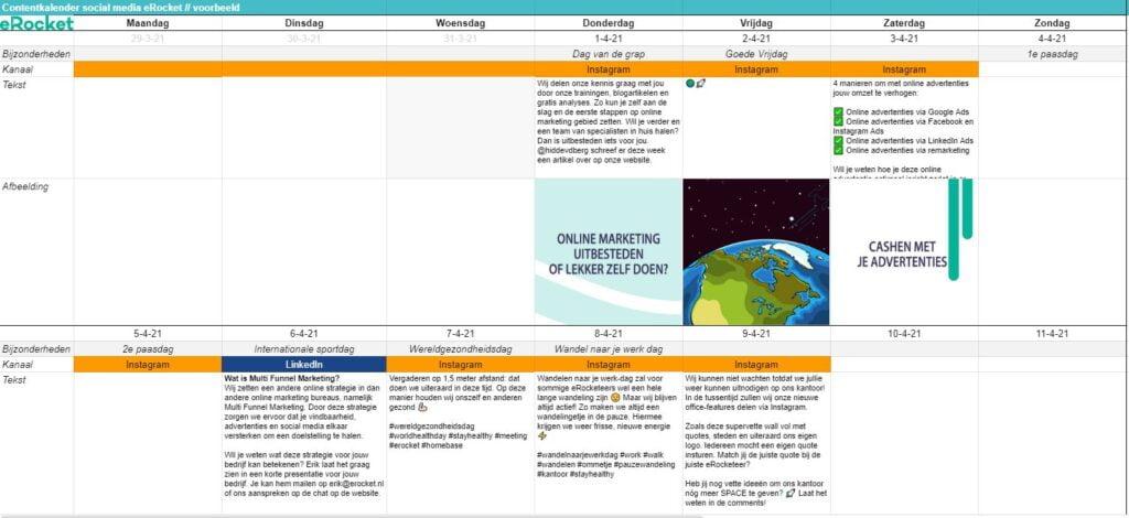voorbeeld contentkalender social media