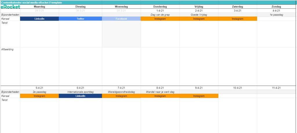 lege template contentkalender