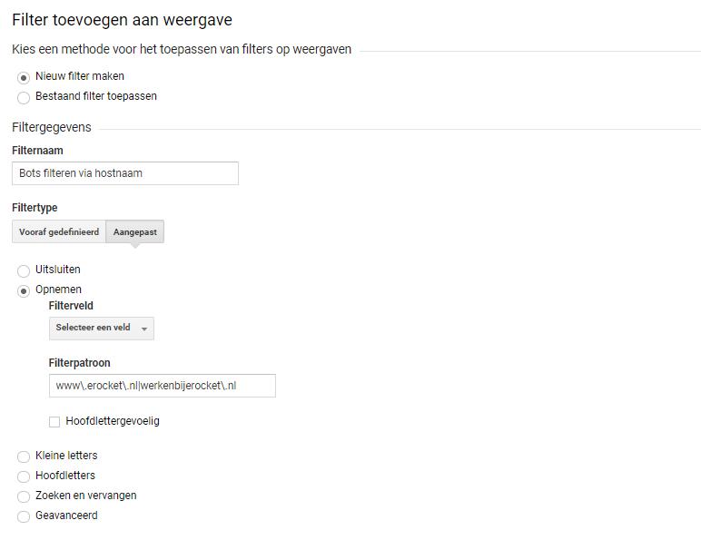 Analytics filter hostnaam