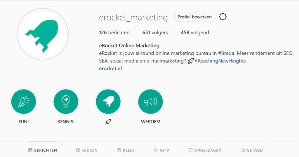 Instagram tips voor bedrijven, profiel van eRocket
