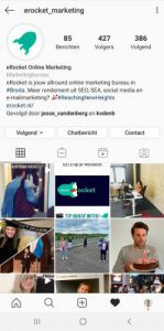 Instagram pagina van eRocket